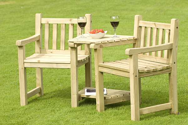 atholl chunky love seat - Wooden Garden Furniture Love Seats